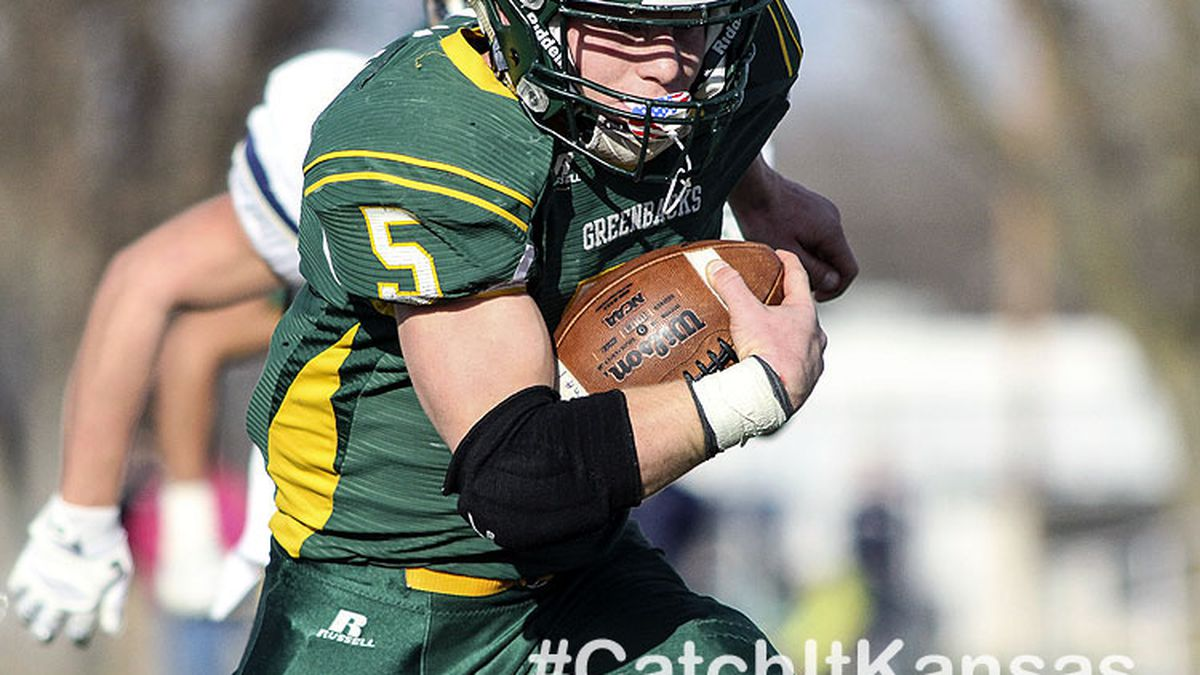 Pratt Greenback Travis Theis (#5) sprints down the field for his fourth touchdown of the game.  The Pratt Greenbacks defeated the Hayden Wildcats 48 to 14 to win the KSHSAA Class 4A Division II State Championship Game at Salina Stadium in Salina, Kansas on November 26, 2016.  (Photo: Joey Bahr, www.joeybahr.com)