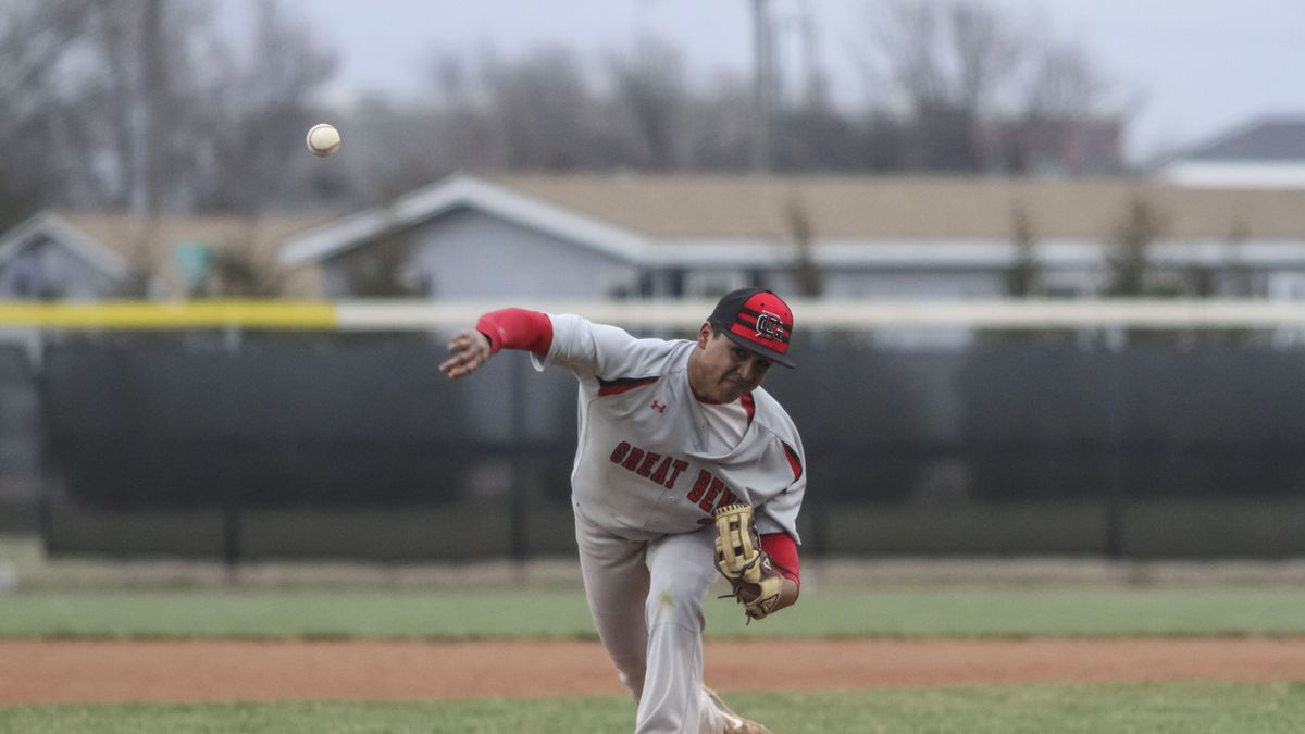 Great Bend Panther #35 Jesus Bujanda throws a pitch in the top of the second inning.  The Great Bend Panthers defeated the Wichita Independent Panthers 4 to 3 in the Eighth Inning in the second game of a double header held at Great Bend Sports Complex in Great Bend, Kansas on March 28, 2019.  (Photo: Joey Bahr, www.joeybahr.com)