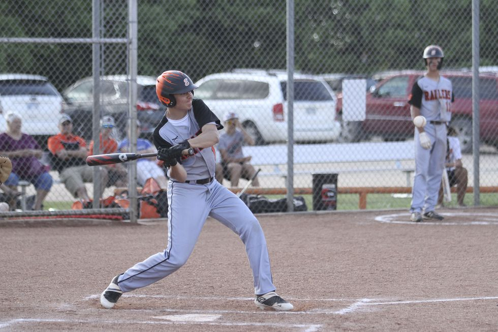 Ellis Railroader #15 Zachary Schiel starts to swing at a pitch.  The Ellis Railroaders defeated...
