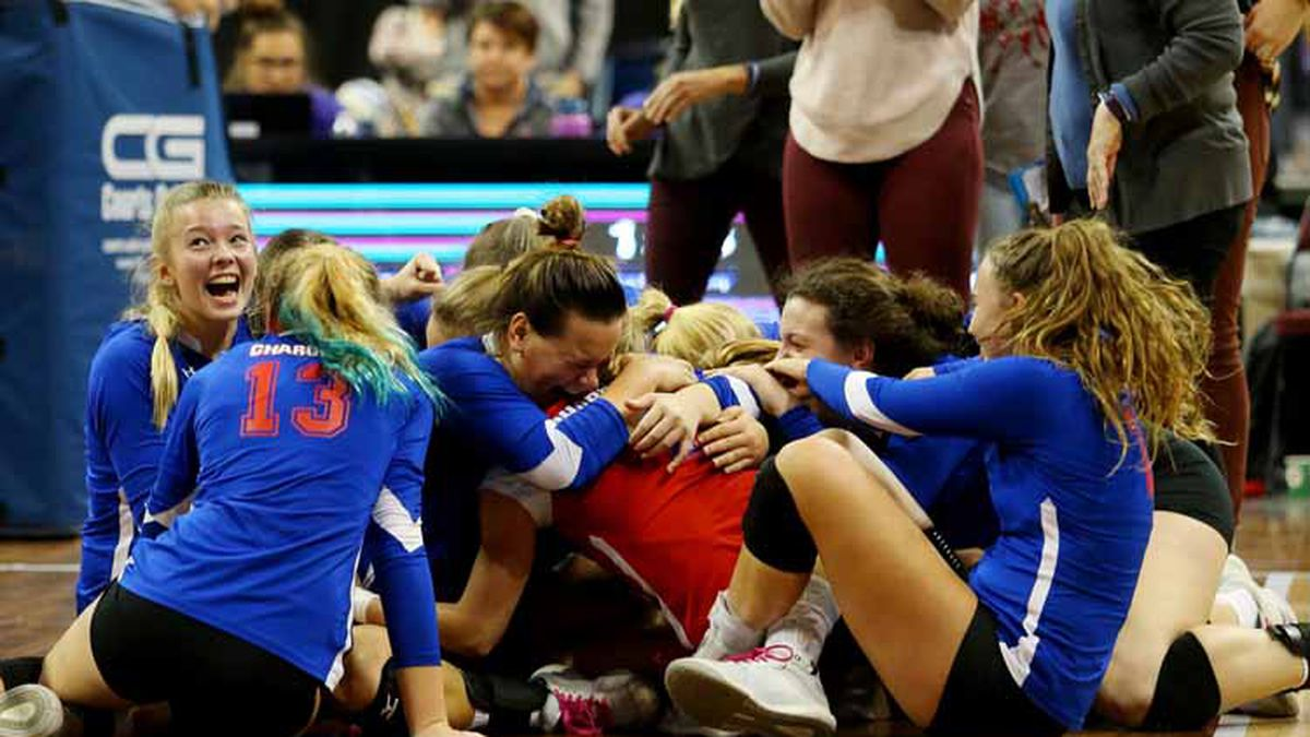 Wabaunsee defeated Spearville 28-26, 25-19 to win the 2019 KSHSAA 2A State Volleyball Championship on Saturday, November 2, 2019.  (Photo: Everett Royer, www.ksportsimages.com)