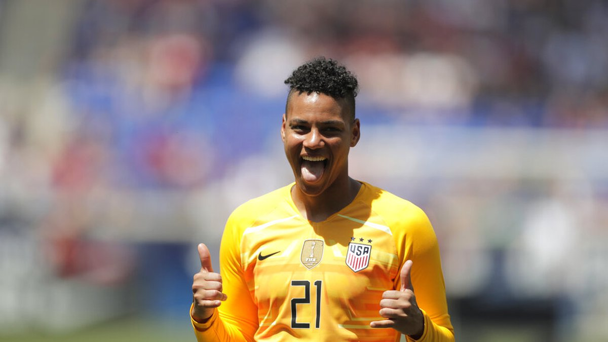 United States goalkeeper Adrianna Franch is introduced during a send-off ceremony ahead of the...