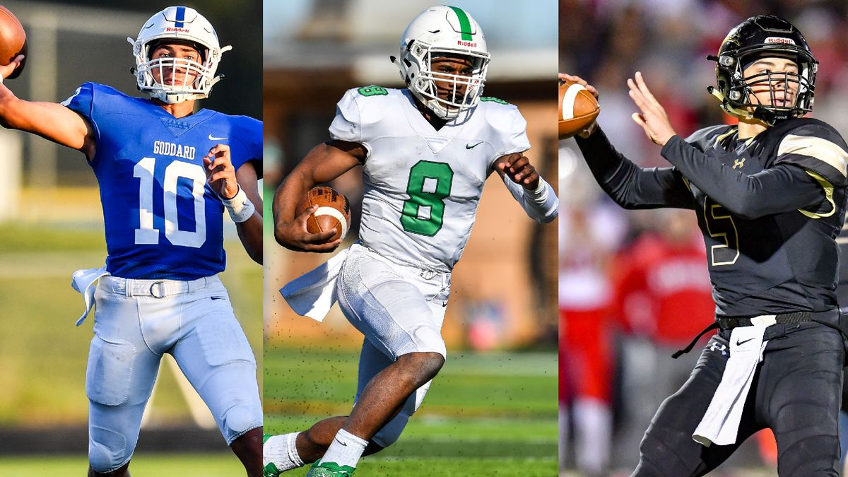 Goddard's Kyler Semrad, Derby's Lem Wash, and Maize South's Colin Shields expect to have big years in the AVCTL in 2020. (Photos: Kelly Ross; Catch it Kansas composite)