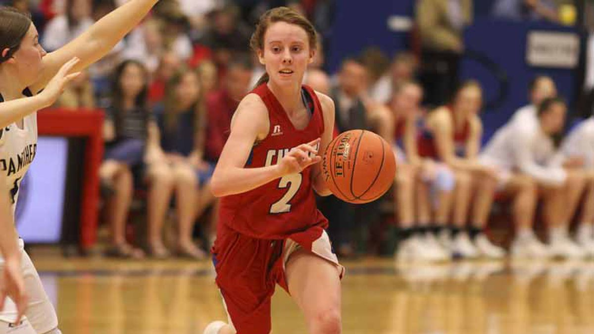 Cheney Lady Cardinal #2 Kylee Scheer drives with the ball.  Teams compete in the Girls...