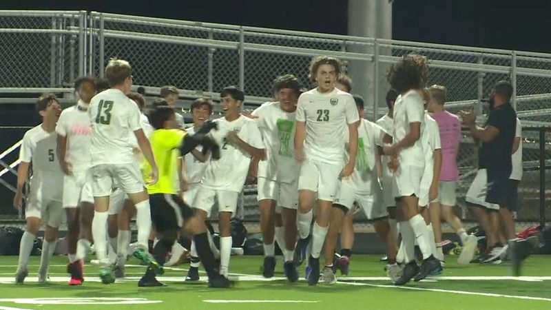 Derby's Logan Eickelman celebrates following a match winning goal against Andover Central