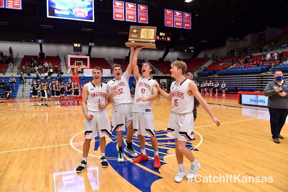 Mar 13, 2021; Hutchinson, Kansas, USA; during the 3A state championship game between Hesston...