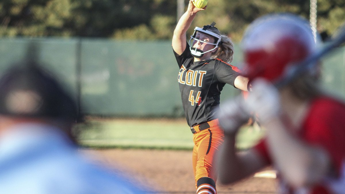 Beloit Lady Trojan #44 Darby Odle winds up to throw a pitch in the top of the fourth inning. ...