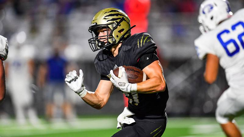 Sep 25, 2020; Wichita, Kansas, USA; during a game between the Andover Central Jaguars and...