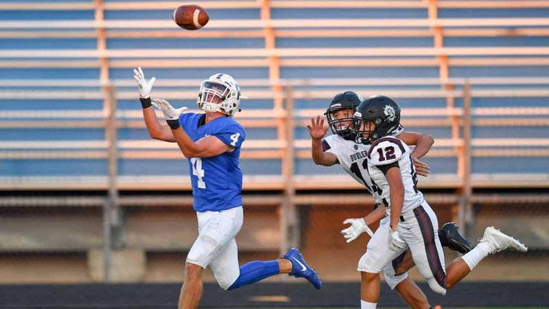 Sep 4, 2020; Goddard, Kansas, USA; during a game between the Goddard Lions and the Buhler...
