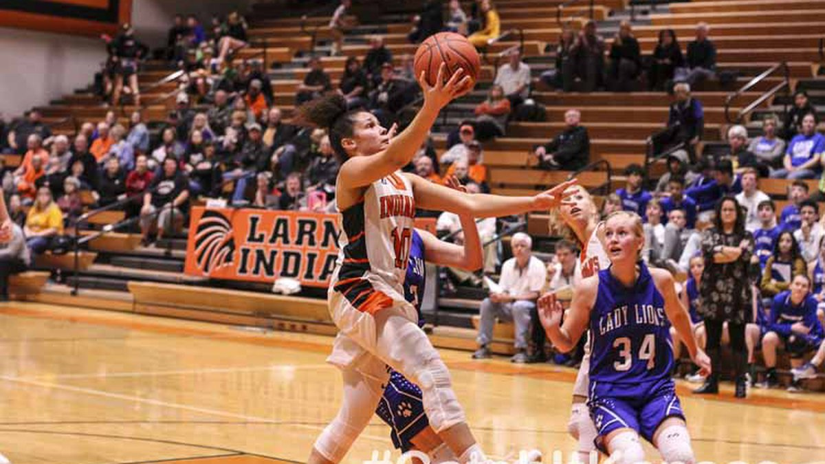 Larned Lady Indian #10 Ivory Muldrow goes for a layup in the second quarter.  The Lyons Lady...
