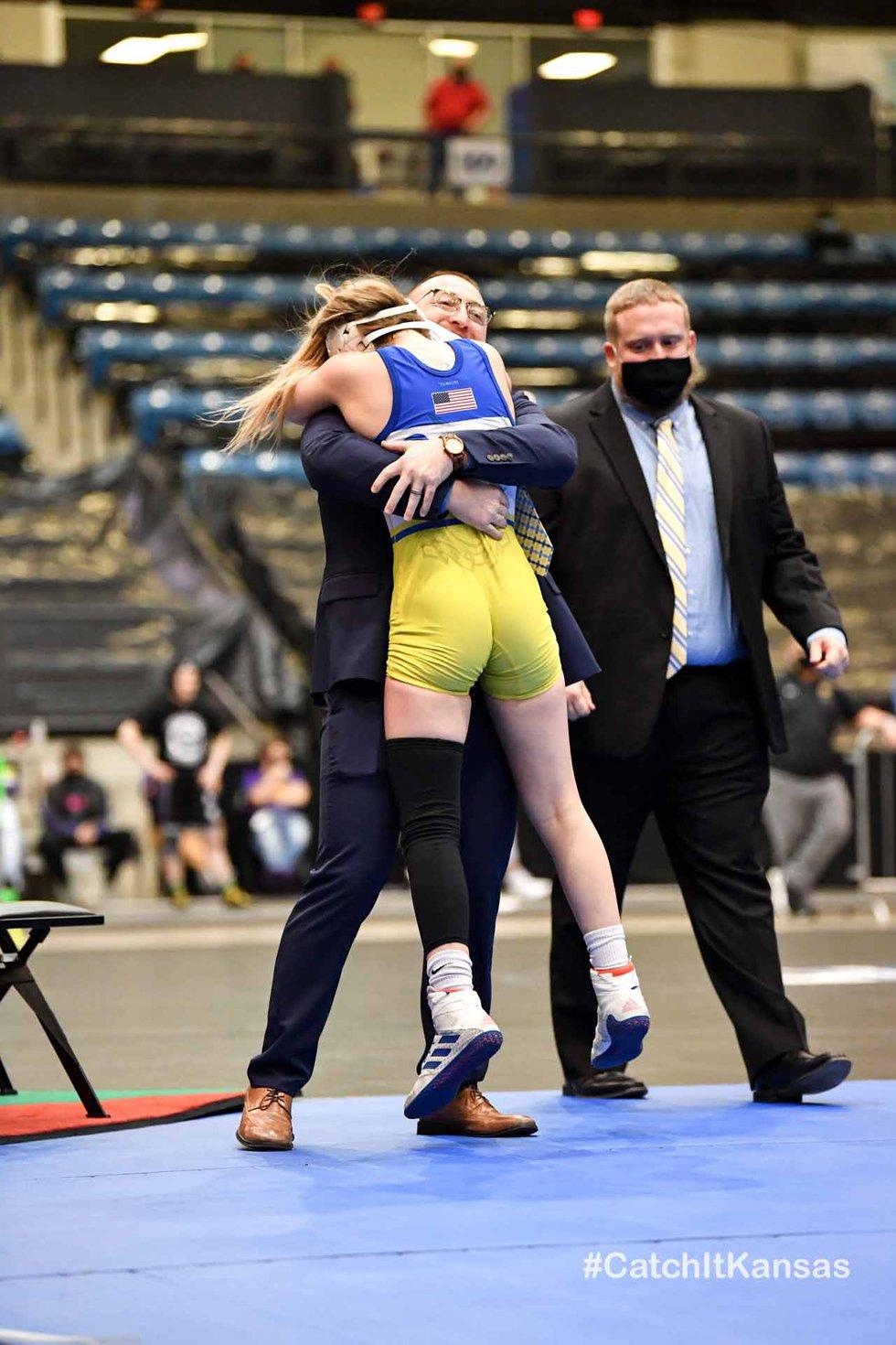 Feb 25, 2021; Wichita, Kansas, USA; during the Division I Girls State Wrestling Championships...