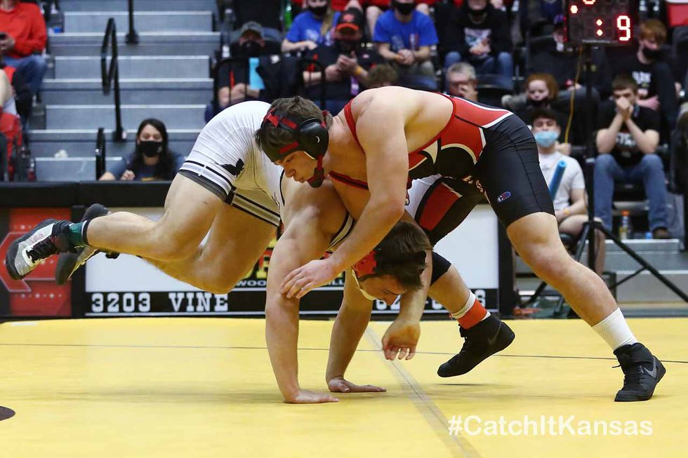 The 2021 Kansas Division 3-2-1A Boys State Wrestling Tournament Finals at Gross Memorial...