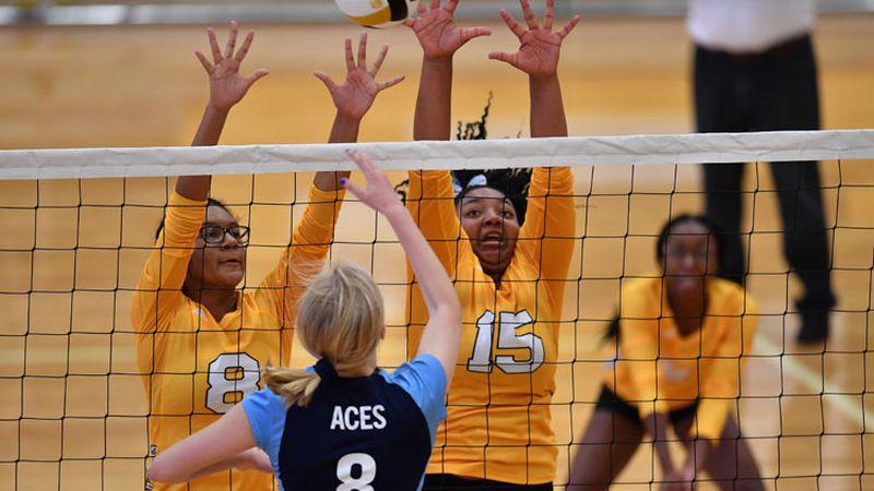Aug, 25, 2018; Wichita, Kansas, USA;  during a volleyball tournament at Southeast High School...