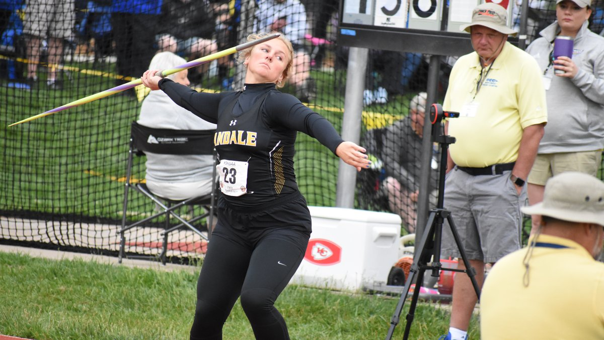Andale senior Katelyn Fairchild opened with a state meet record throw of 168-11. She went 170-0...