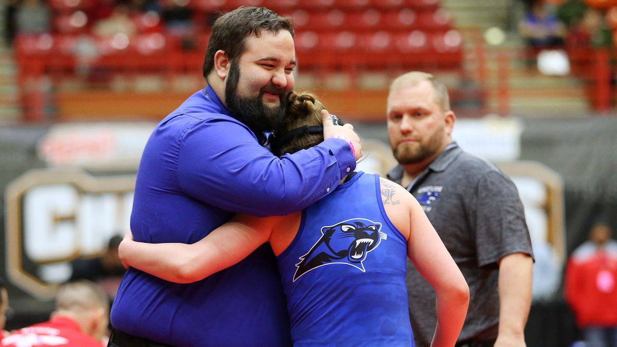 Finals at the 2020 Inaugural Kansas Girls State Wrestling Tournament at Tony's Pizza Events Center in Salina on Thursday, February 27, 2020.  (Photo: Everett Royer, www.ksportsimages.com)