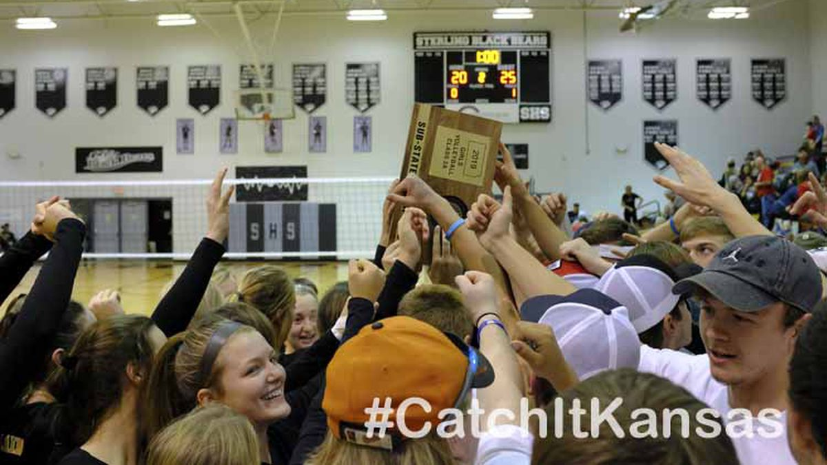 The Garden Plain Lady Owls celebrate their Sub-State Championship with their fellow students.  The Garden Plain Lady Owls won the Class 2A Volleyball Sub-State Tournament held at the Ora Shields Activity Center in Sterling, Kansas on October 26, 2019.  (Photo: Joey Bahr, www.joeybahr.com)