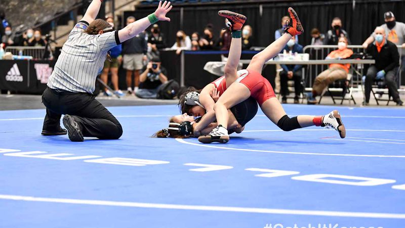 Feb 25, 2021; Wichita, Kansas, USA; during the Division I Girls State Wrestling Championships...