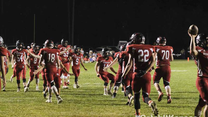 The Little River Redskins celebrate scoring their last touchdown of the night.  The Little...
