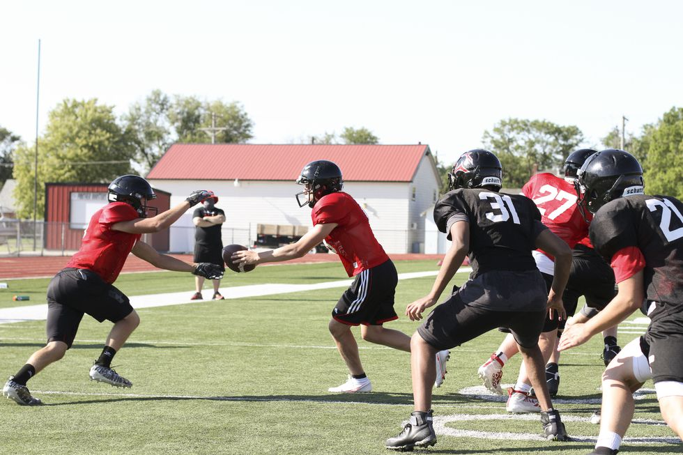 The Great Bend Panthers hold a practice for the football team at Memorial Stadium in Great Bend, Kansas on August 20, 2020.  (Photo: Joey Bahr, www.joeybahr.com)