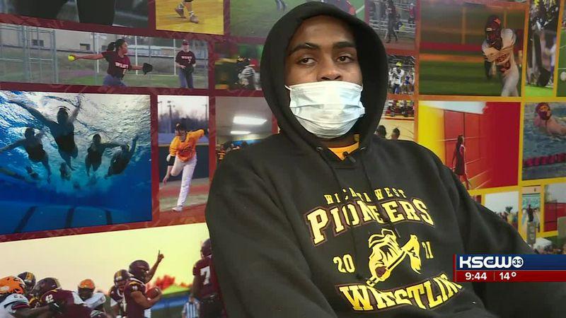 Wichita West HS wrestling champion Quentin Saunders