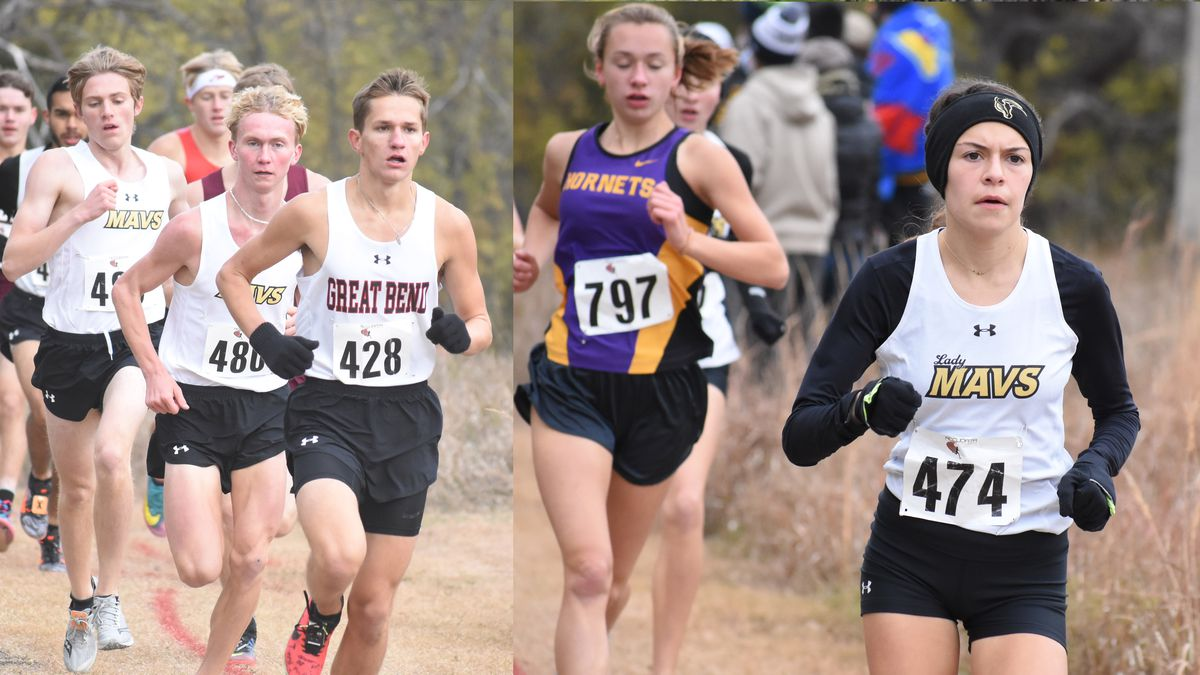 Maize South's Alexa Rios and Great Bend's  Kaiden Esfeld won 5A Regional XC races Saturday in...