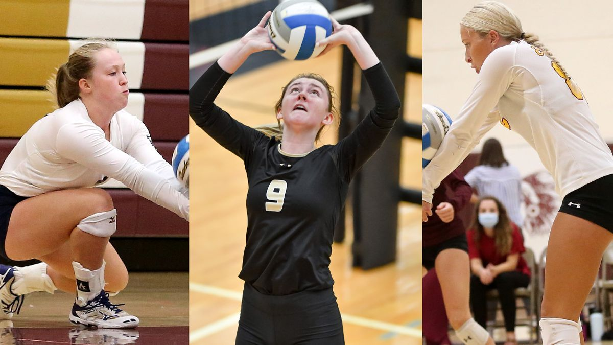 TMP's Emilee Augustine, Maize South's Laurel Jones, & Hays High's Brooklyn Schaffer are among a...
