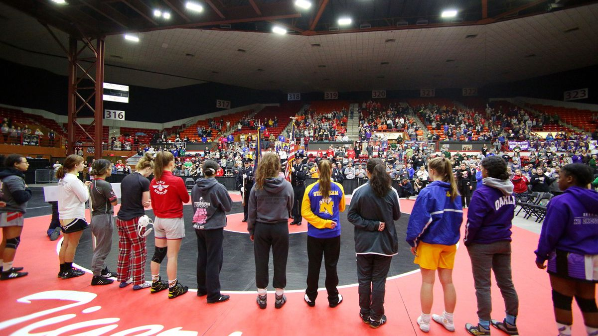 The Opening Ceremony at the 2020 Inaugural Kansas Girls State Wrestling Tournament at Tony's Pizza Events Center in Salina on Thursiday, February 27, 2020.  (Photo: Everett Royer, www.ksportsimages.com)